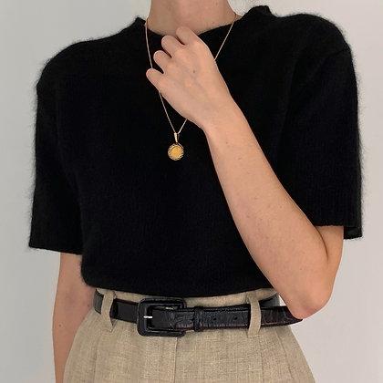 Vintage Obsidian Silk Angora Knit Shirt