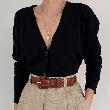 Vintage Black Cashmere Knit Cardigan