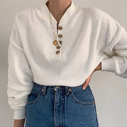 Vintage Snow Henley Knit Sweater