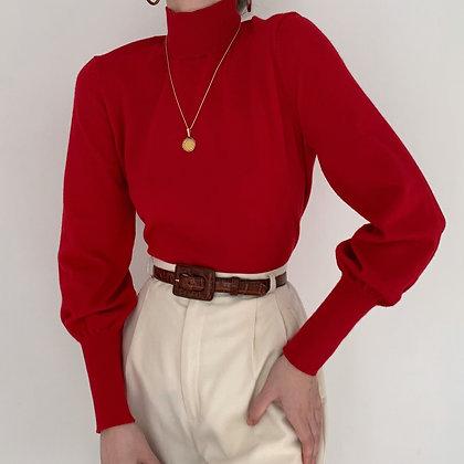 Deadstock Vintage Cherry Mock Neck Knit