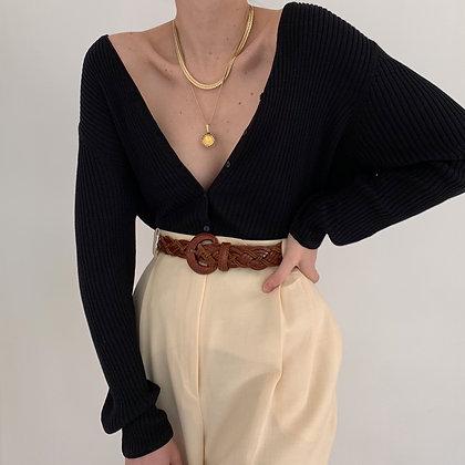 Vintage Onyx Silk Blend Ribbed Knit Cardigan