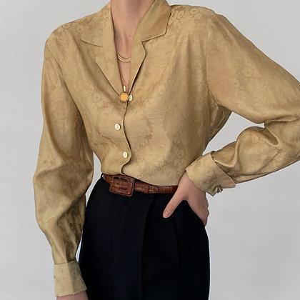 Vintage Golden Brocade Silk Buttoned Blouse