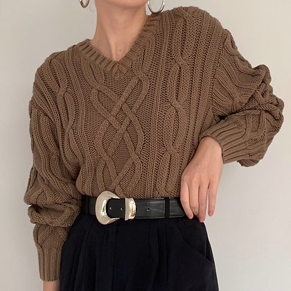 Vintage Cocoa Chunky Cable Knit Sweater