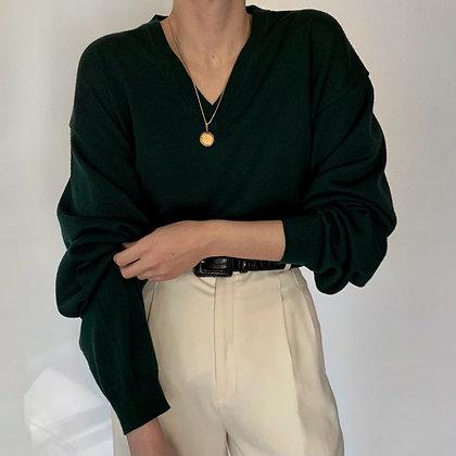 Vintage Pine Merino Wool Knit Sweater