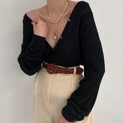 Vintage Onyx Silk Cable Knit Cardigan