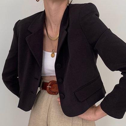 Vintage Onyx Silk Cropped Blazer