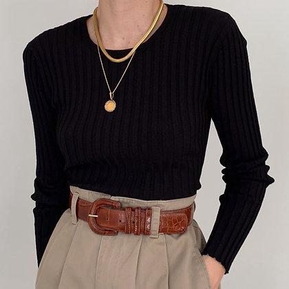 Vintage Black Ribbed Knit Top