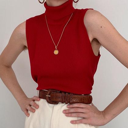 Vintage Cherry Red Sleeveless Turtleneck