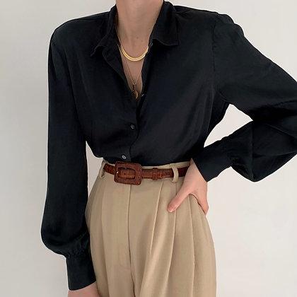 Vintage Onyx Silk Bishop Sleeve Blouse