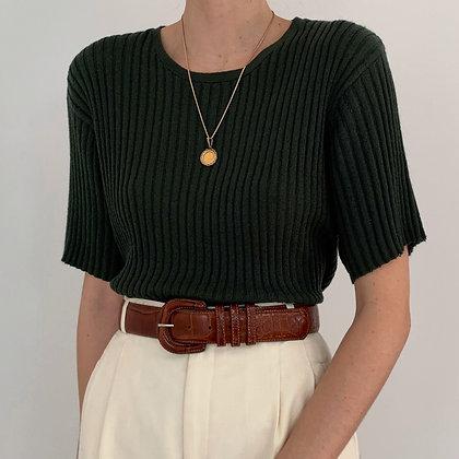 Vintage Evergreen Ribbed Knit Shirt