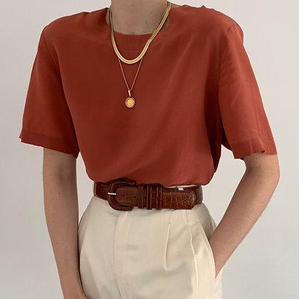 Vintage Minimalist Papaya Silk Boxy Shirt