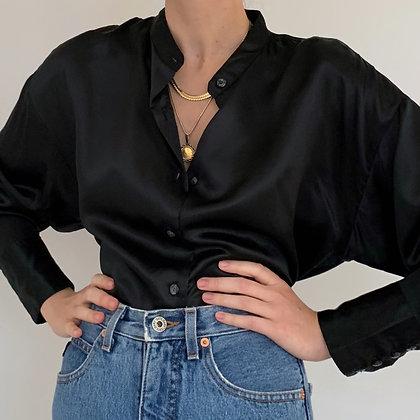 Vintage Black Liquid Silk Blouse