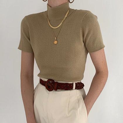 Vintage Sand Ribbed Knit Mock Neck Shirt