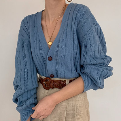 Vintage Dusty Blue Cable Knit Cardigan
