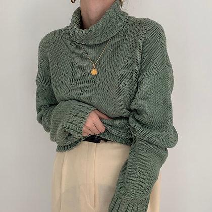 Vintage Jade Knit Turtleneck Sweater