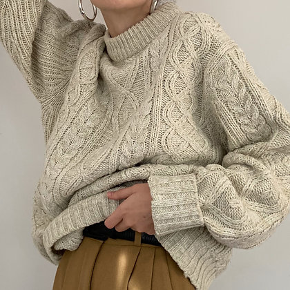 Vintage Oatmeal Fisherman's Sweater