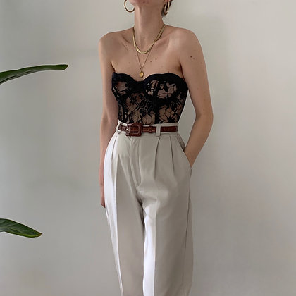Vintage Sand High-Waisted Trousers (25W)
