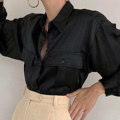 Vintage Black Liquid Silk Button Up Blouse