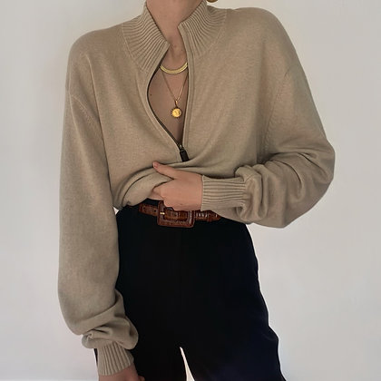 Vintage Oatmeal Luxe Knit Half Zip Sweater