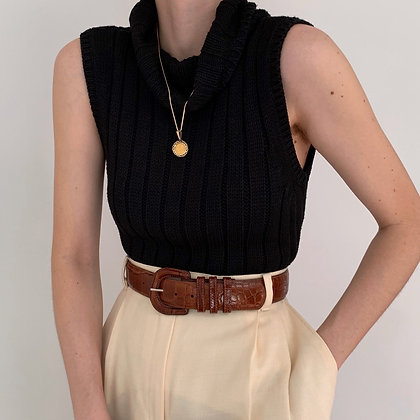 Vintage Noir Sleeveless Silk Chunky Knit