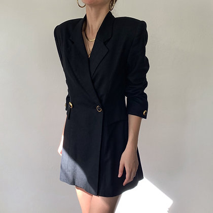 Vintage Midnight Double-Breasted Longline Blazer