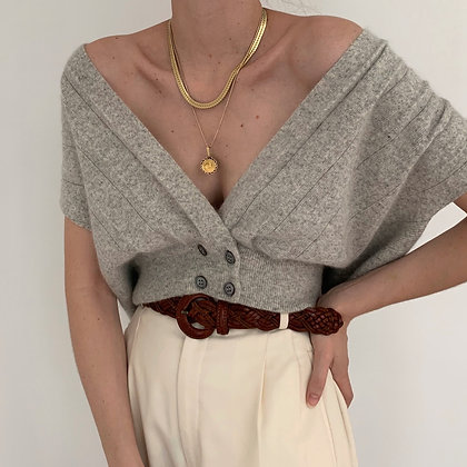 Vintage Cloud Double Breasted Knit Top