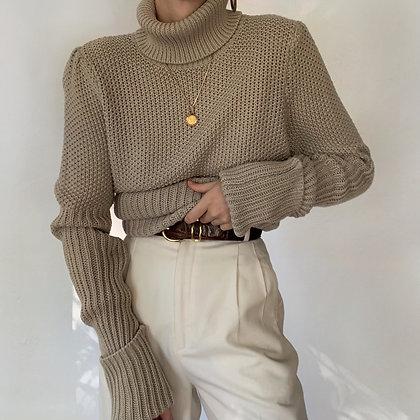 Vintage Sandstone Knit Turtleneck Sweater