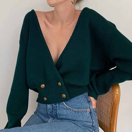 Vintage Forest Green Double Breasted Cardigan