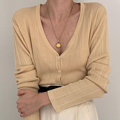 Vintage Buttercream Silk Knit Cardigan