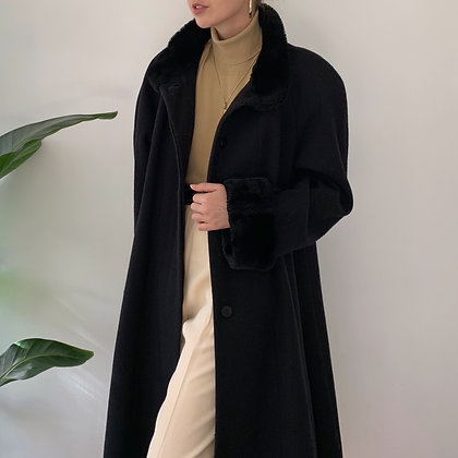 Vintage Black Wool Overcoat with Faux Fur Trim
