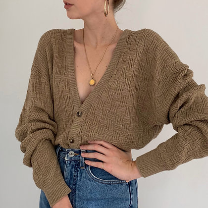 Vintage Cocoa Textured Knit Cardigan