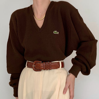 Vintage Chocolate Lacoste Knit Sweater