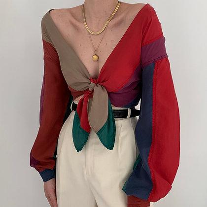 Vintage Multicolor Stripe Silk Blouse