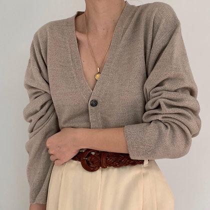Vintage Taupe Melange Knit Cardigan
