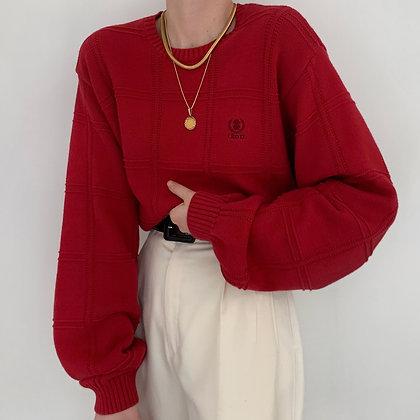 Vintage Izod Ruby Grid Knit Sweater