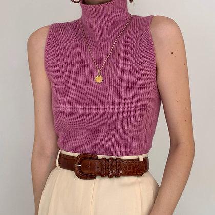 Vintage Rose Sleeveless Mock Neck
