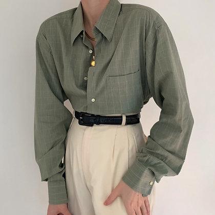 Vintage Dior Sage Grid Button Up Blouse