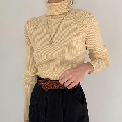 Vintage Buttercream Merino Wool Knit Turtleneck