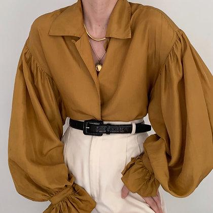 Vintage Turmeric Silk Bishop Sleeve Blouse