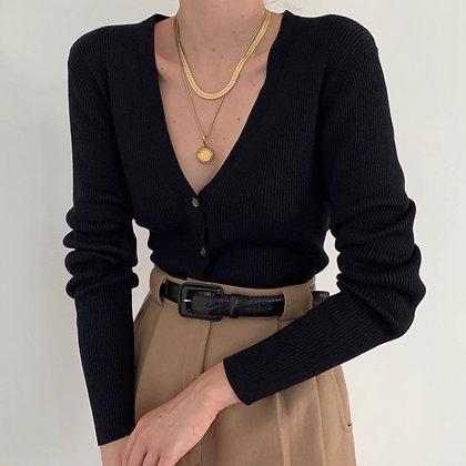 Vintage Noir Silk Ribbed Knit Cardigan