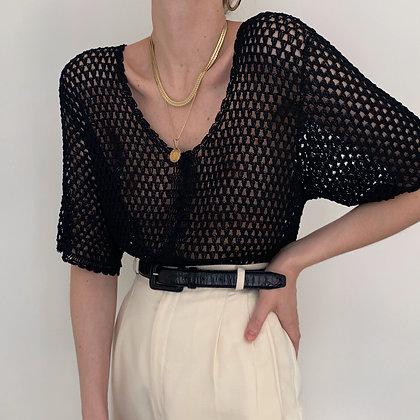 Vintage Noir Crochet Knit Buttoned Top
