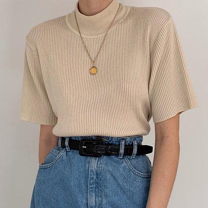 Vintage Sand Ribbed Knit Mock Neck