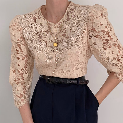 Rare Vintage Cream Lacy Puff Sleeve Blouse