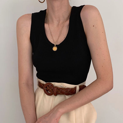 Vintage Onyx Silk Ribbed Knit Tank