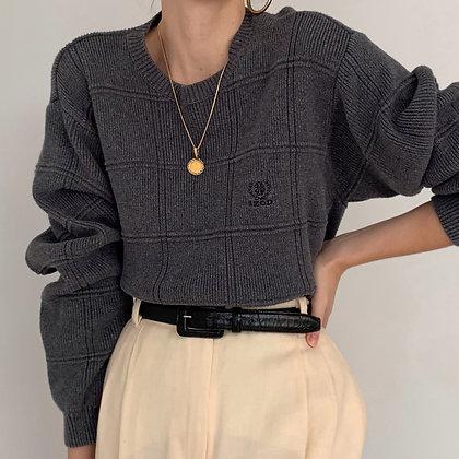 Vintage Izod Charcoal Grid Knit Pullover