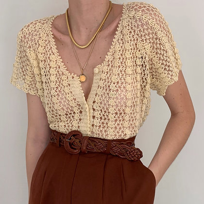 Vintage Cream Knit Buttoned Top