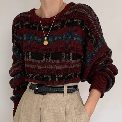 Vintage Burgundy Print Knit Pullover