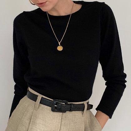 Minimalist Vintage Black Italian Wool Knit