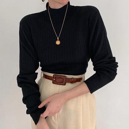 Vintage Noir Silk Blend Ribbed Knit Mock Neck