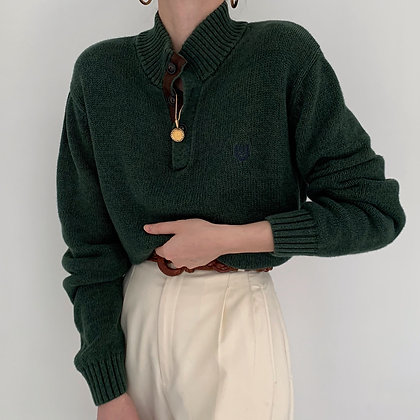 Vintage Chaps Pine Knit Henley Sweater